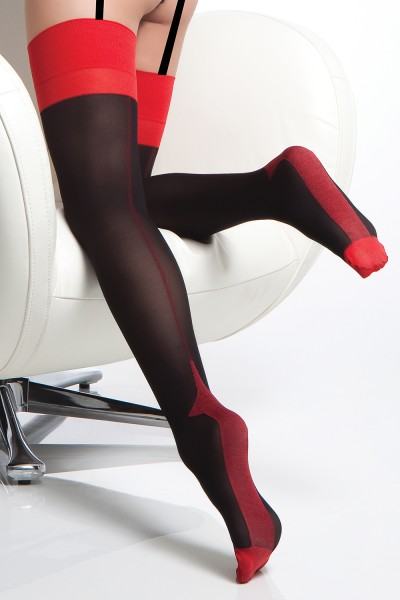 1766 - Stockings - Black/Red - OS