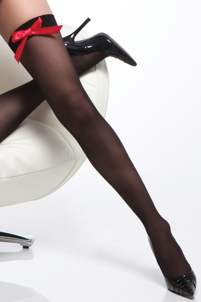 1767 - Stockings - Black/Red - OS