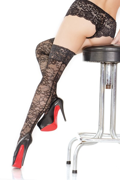 1796 - Plus Size Thigh High Stocking - Black