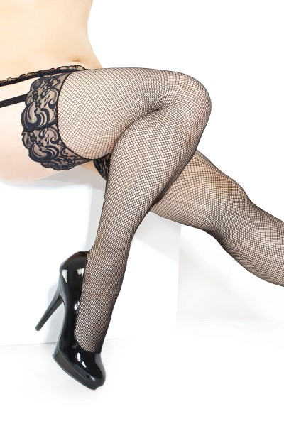 1898 - Plus Size Fishnet Stocking - Black - OS/XL