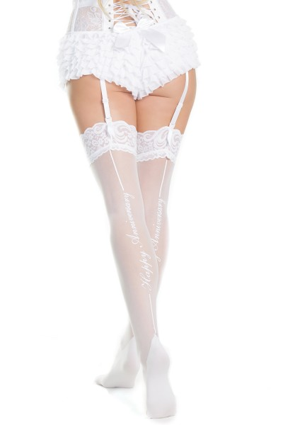 1910X - Plus Size Happy Anniversary Stockings - White - OSXL