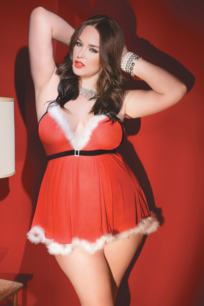 1957 - Plus Size Holiday Babydoll & G-String Set - Red/White