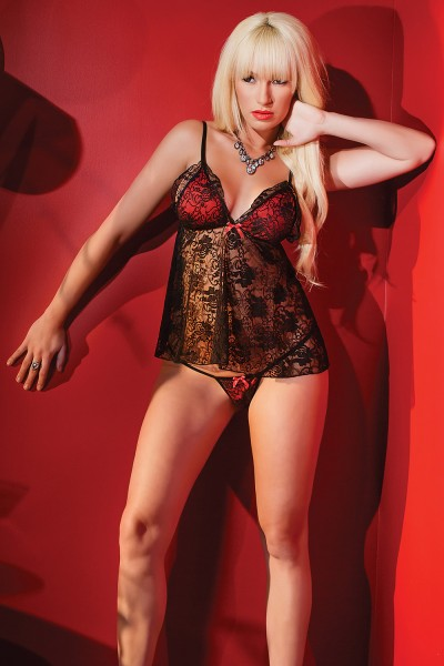 1969 - Babydoll & G-String Set - Black/Red