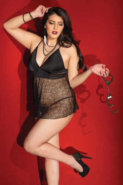 1991 - Plus Size Babydoll & G-String Set - Black
