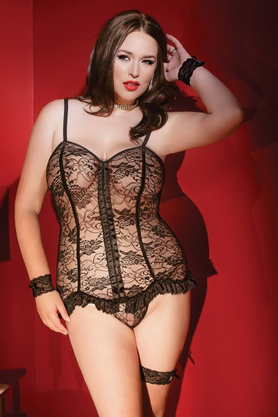 1999 - Plus Size Corset & G-String Set - Black