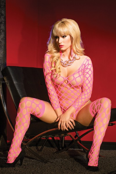 2421 - Teddy & Stockings Set - Neon Pink - OS