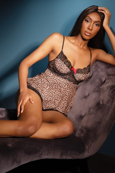 2515 - Babydoll & G-String Set - Leopard/Black