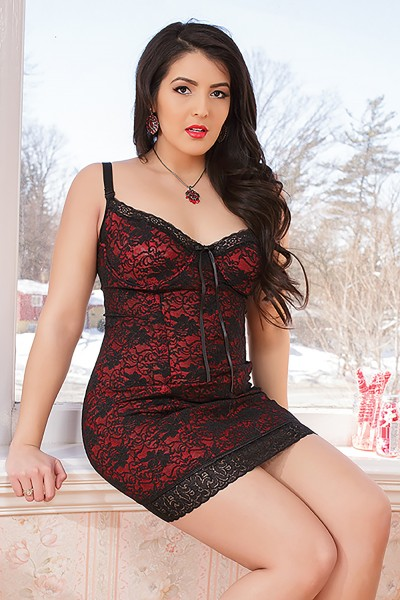 3727X - Plus Size Lace Chemise - Black/Red