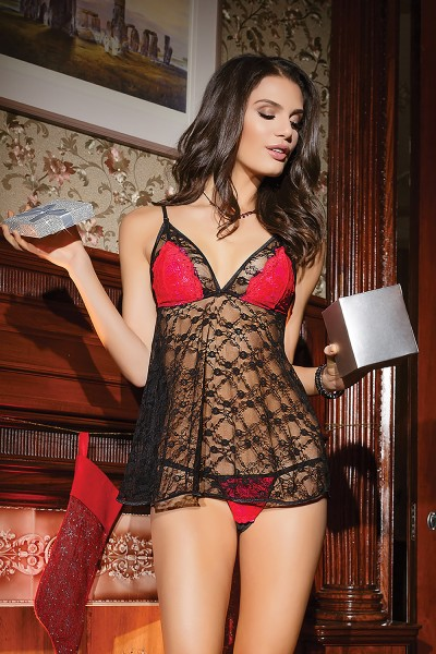 3745 - Babydoll & G-String Set - Black/Red/Fuchsia