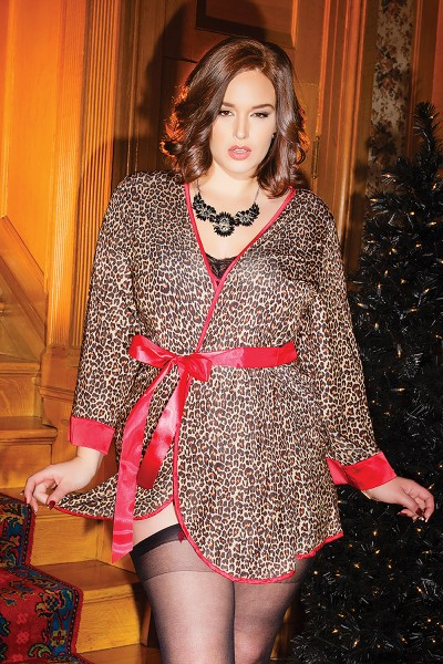 3752X - Plus Size Robe - Leopard