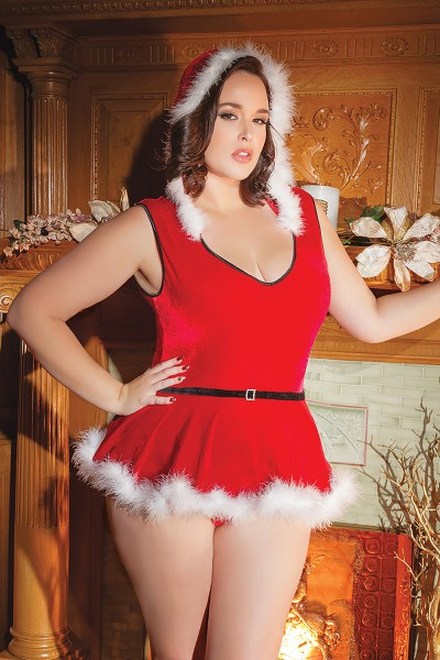 3761X - Plus Size Santa Teddy - Red/White