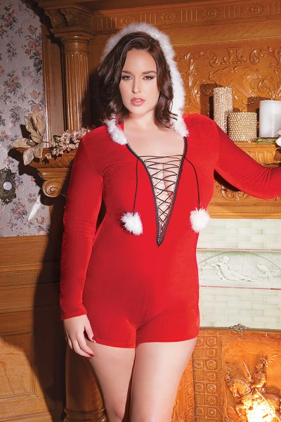 3792X - Plus Size Romper - Red