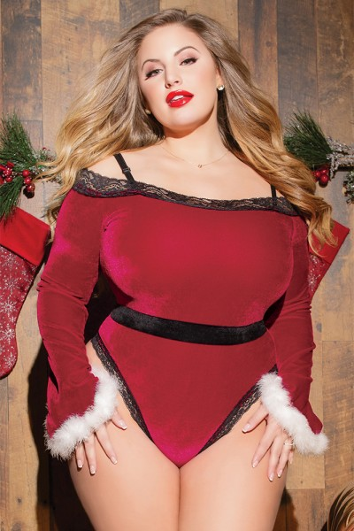3796X - Plus Size Velvet Santa Teddy - Red/Black