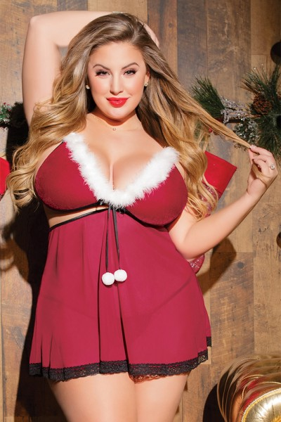 3797 - Plus Size Babydoll & G - String - Red/Black
