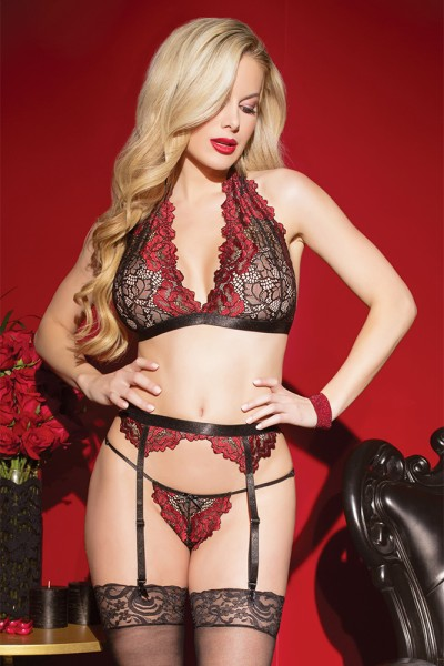Rose Marsala Bra, Garter Belt & G-String Set