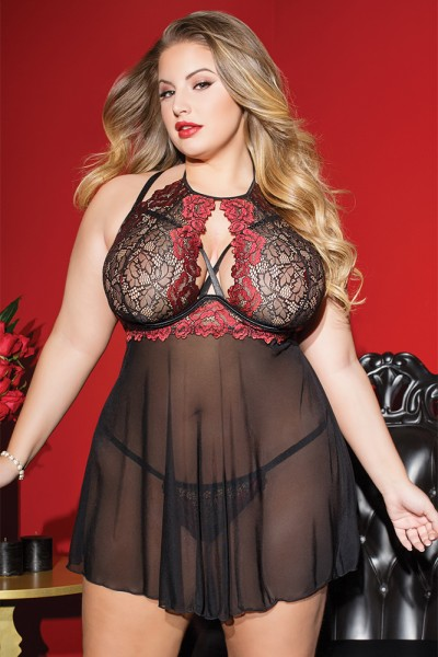 3802 - Plus Size Babydoll & G-String - Black/Red