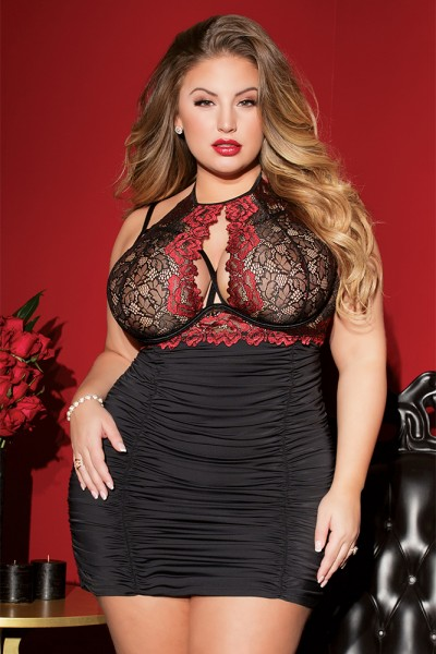 3803 - Plus Size Chemise - Black/Red