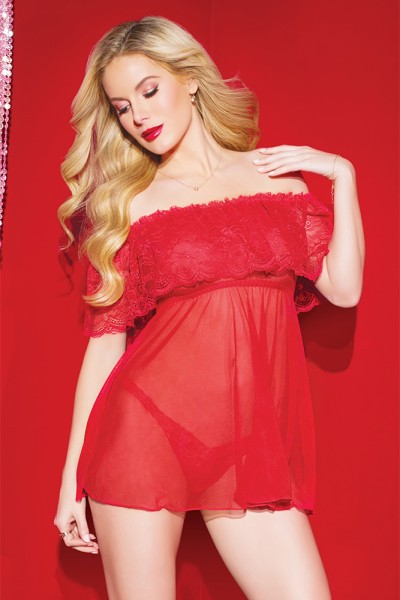 3808 - Babydoll & Thong Set - Red - OS