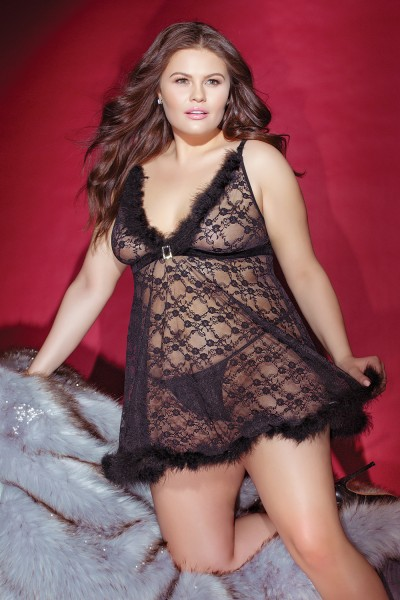 3831X - Plus Size Babydoll & G-String Set - Black - OS/XL