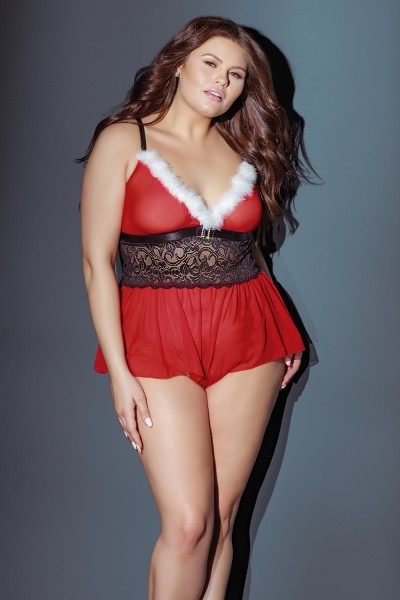 3850X - Plus Size Crotchless Teddy - Red/White/Black - OS/XL