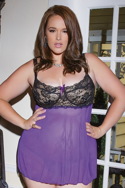 1035 - Plus Size Baby-Doll And G-String - Black/Purple