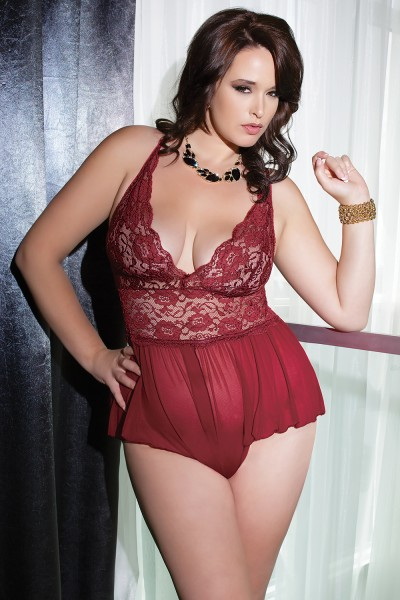 7041 - Plus Size Teddy - Merlot