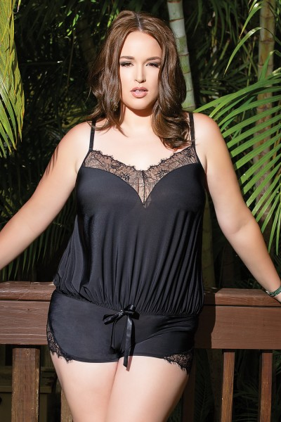 7066 - Plus Size Romper - Black
