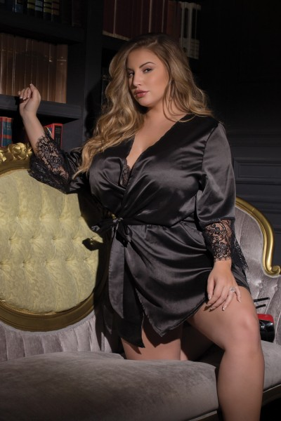 7142X - Plus Size Robe - Black