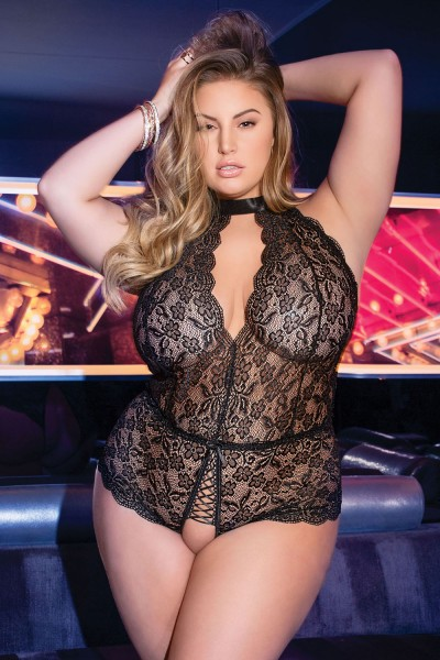 7165X - Plus Size Crotchless Teddy - Black