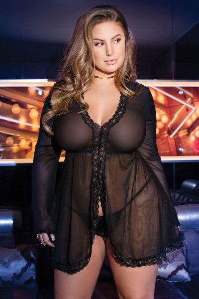 7166X - Plus Size Mesh Babydoll Set - Black