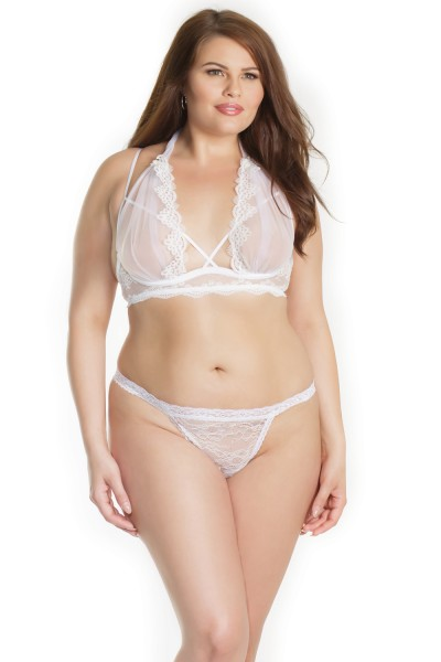 7209X - Plus Size Bra & Panty Set - White