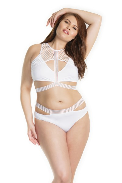 7210X - Plus Size Bra & Panty Set - White