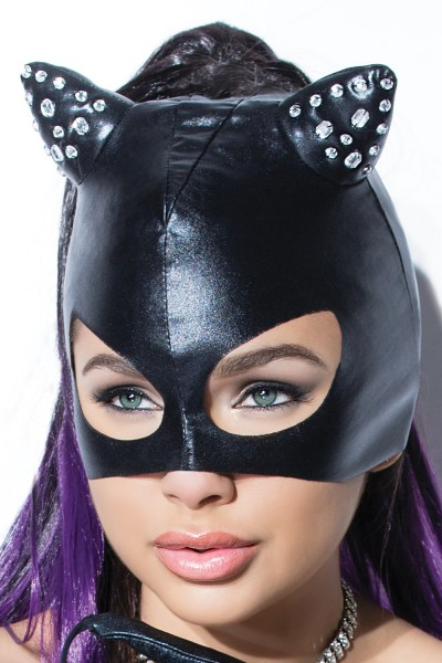 D2244 - Cat Mask with Rhinestones - Black - OS