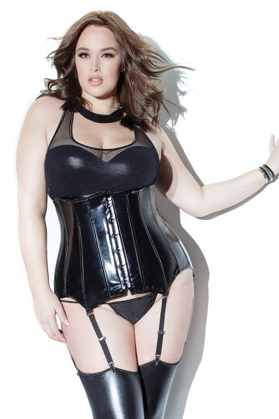 D9242 - Plus Size Waist Cincher - Black