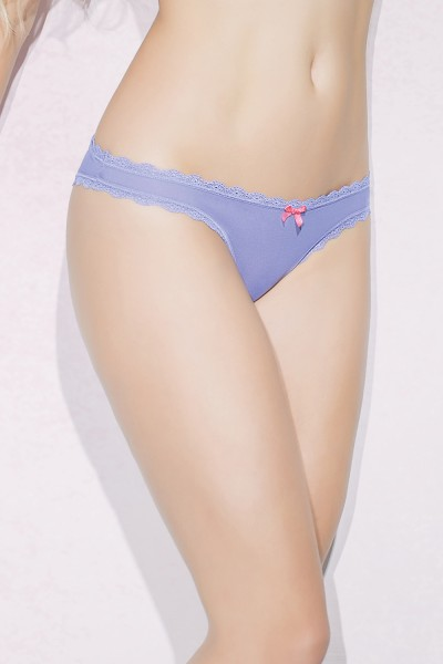 S4078 - Crotchless Panty - Periwinkle/Melon