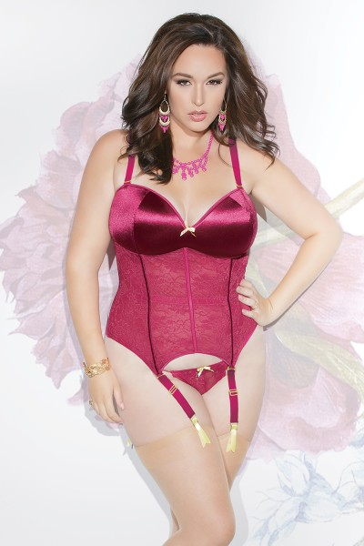 S4080X - Plus Size Bustier - Raspberry/Lemon