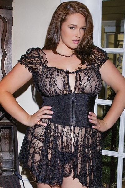 1028 Plus Size Baby Doll And G String Black Os Xl