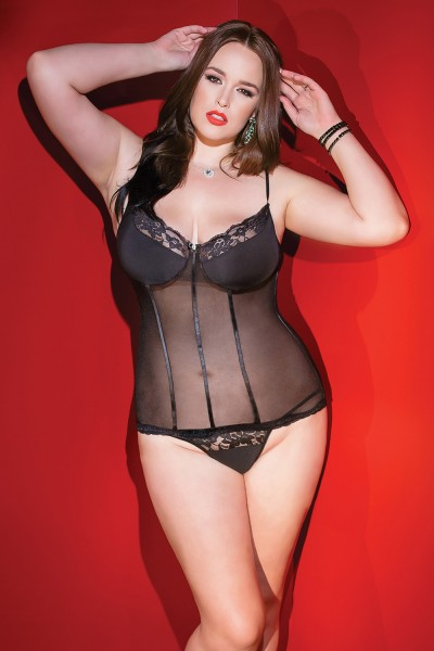 2404 - Plus Size Bustier & G-String Set - Black