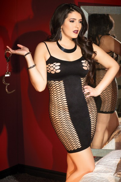2424 - Plus Size Fishnet Dress - Black