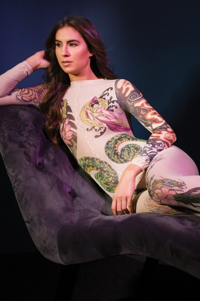 2560 - Tattoo Bodystocking - Nude/Tattoo - OS