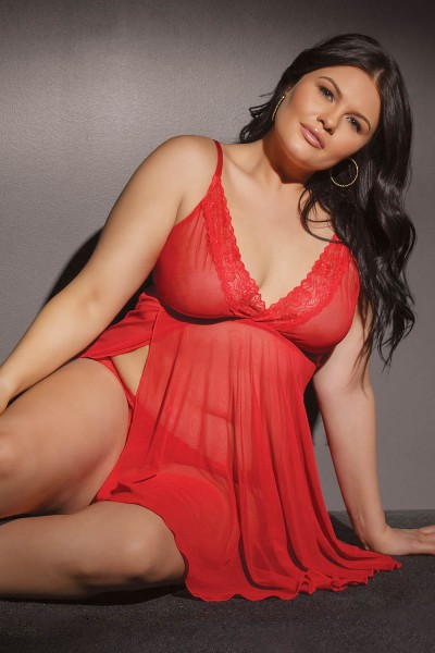 2571X - Babydoll & Thong Set - Red - OS/XL