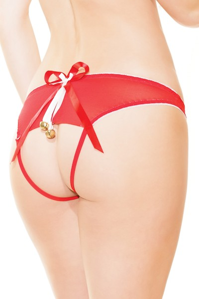 3412 - Crotchless Panty - Red/White