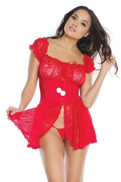 3799 - Lace Babydoll & G-String - OS