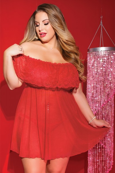 3808X - Plus Size Babydoll & Thong Set - Red - OS/XL