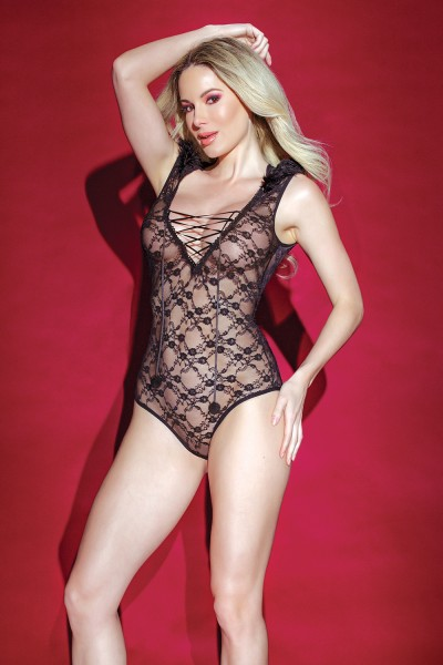 3834 - Lace Hooded Teddy - Black - OS