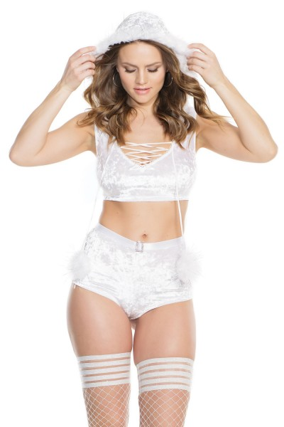 3878 - Velvet Crop Top & Booty Short Set - White - OS
