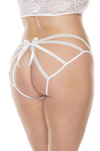 3892X - Plus Size Caged Panty - White - OSXL