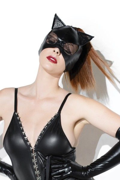 D2245 - Cat Mask With Lace Eyes And Ears - Black - OS