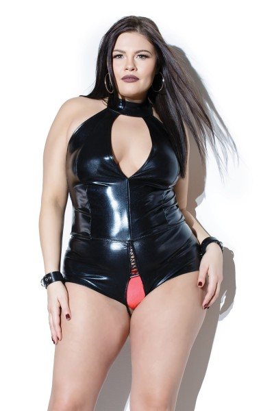 D9382X - Crotchless Teddy - Black - OSXL