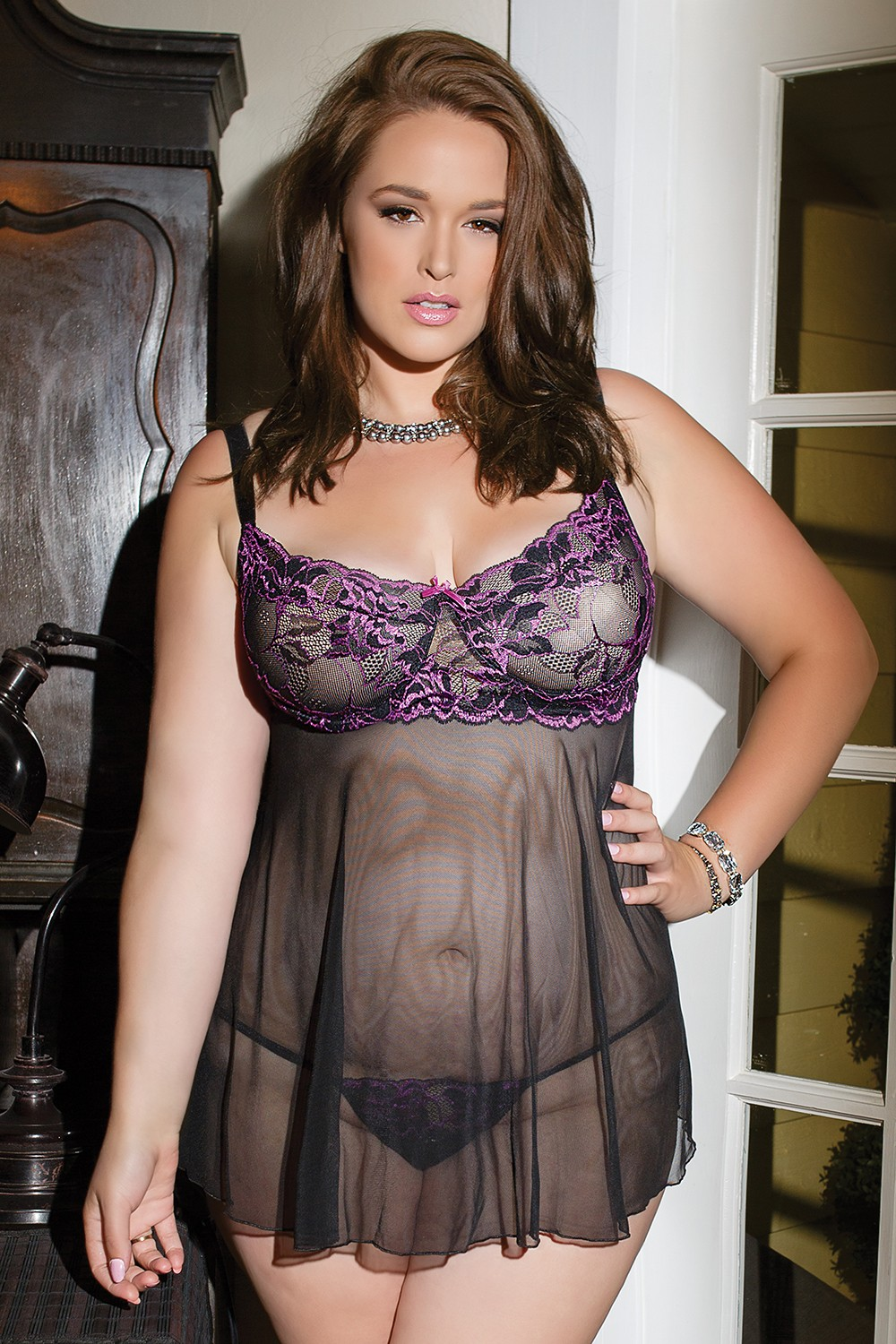 Details about  /COQUETTE 3392 Luxury Sheer Underwired Babydoll and Matching G-String Set